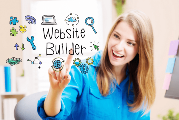 woman building business website