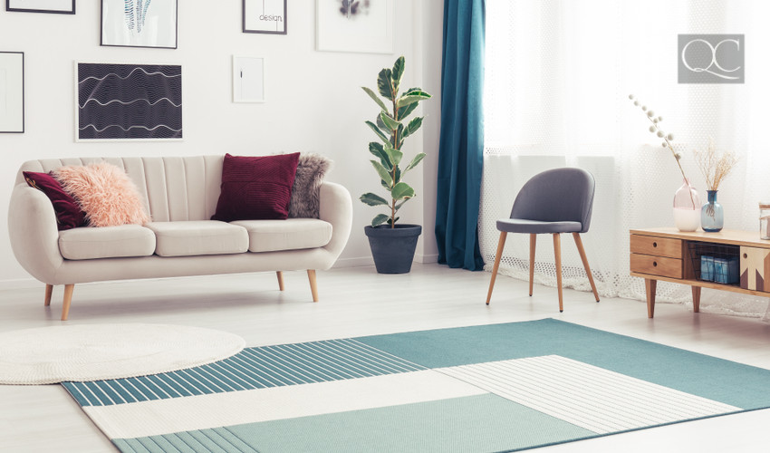 bold rugs in apartment to add color for interior decorating jobs