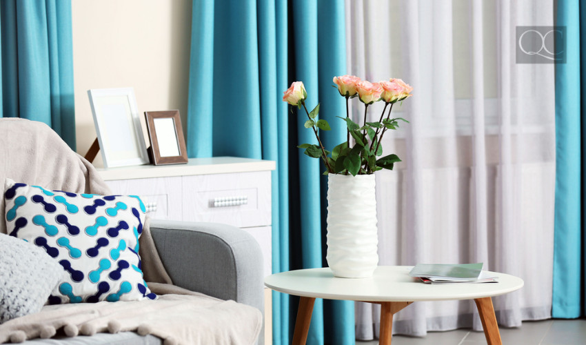 teal turquoise colored curtains to decorate a space