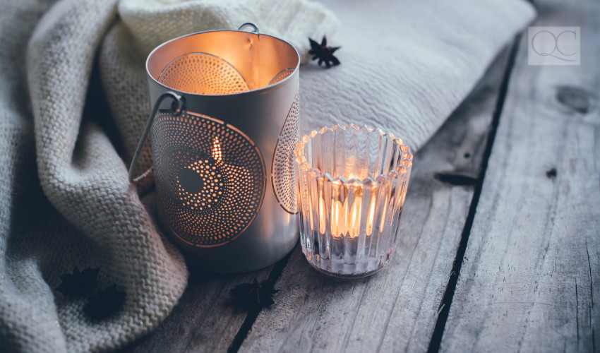 tea lights to warm up a space in winter weather is a great transitional decor element