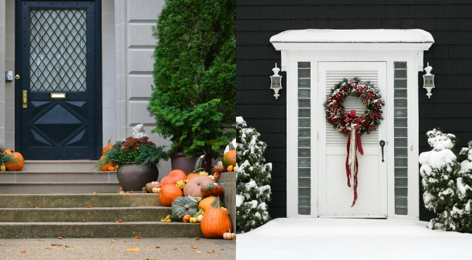 Fall and winter curb appeal decorations