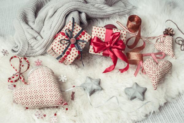 cute and festive christmas decor on blanket