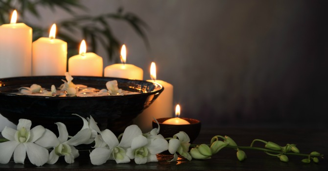 Feng Shui candles and flowers