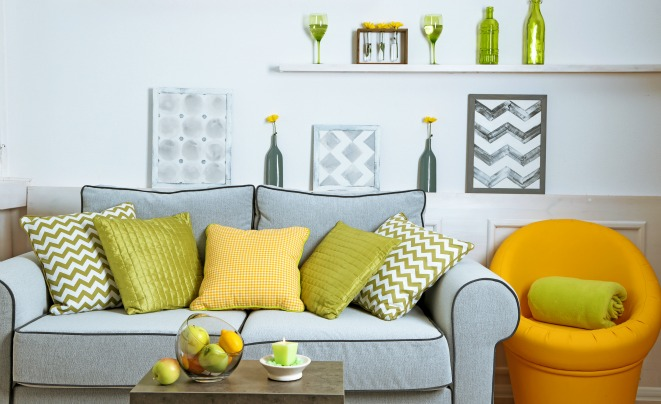 Colorful accessories in living room