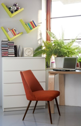 Home office design orange chair