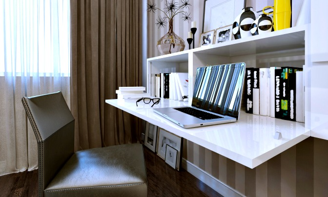 Cabinet with fold-down desk as a hidden storage idea for the home