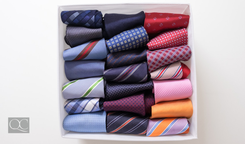 organized box of ties by a professional organizer