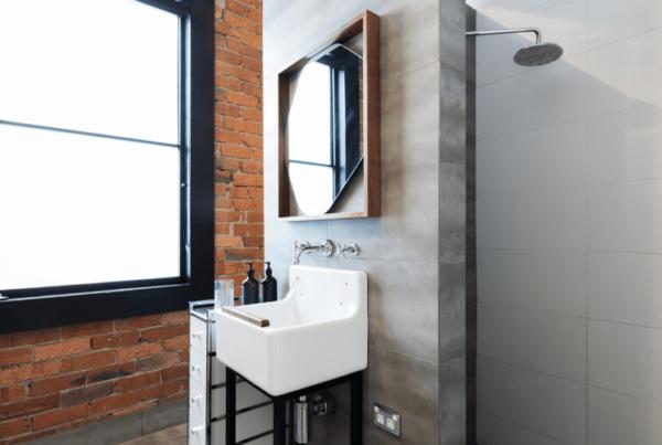 small modern renovated bathroom