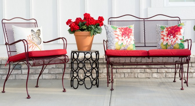 Bright, floral patio decor