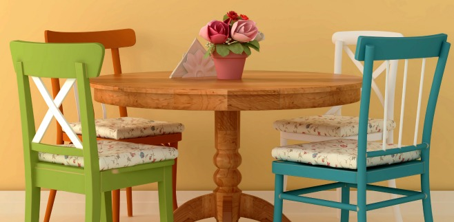 Mix up your dining table chairs to add interest to a room