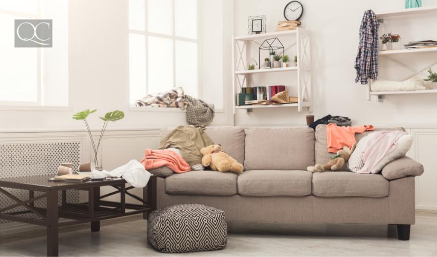 living room clutter