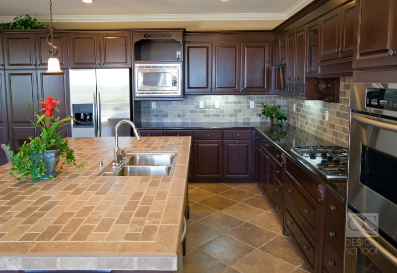 tiled countertops in a decorated kitchen is a bad fad