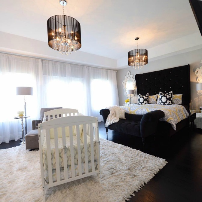 Master bedroom and nursery designed by Jacqueline Forde