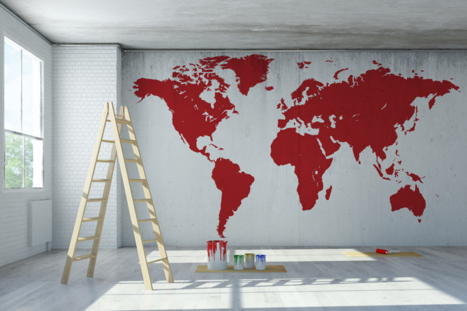 painted world map decal