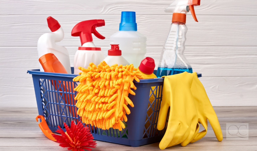 cleaning supplies for cleaning a home interior