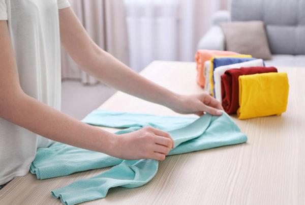 Konmari folding clothes method of Marie Kondo a professional organizer