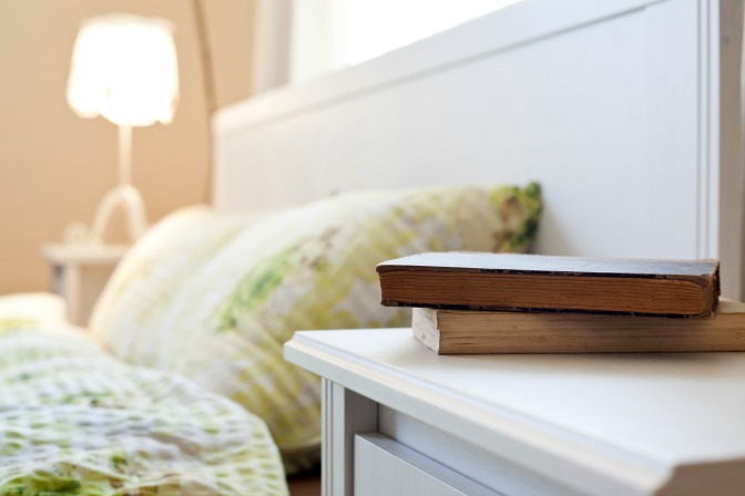 Home Storage Spaces Bedside Table with books