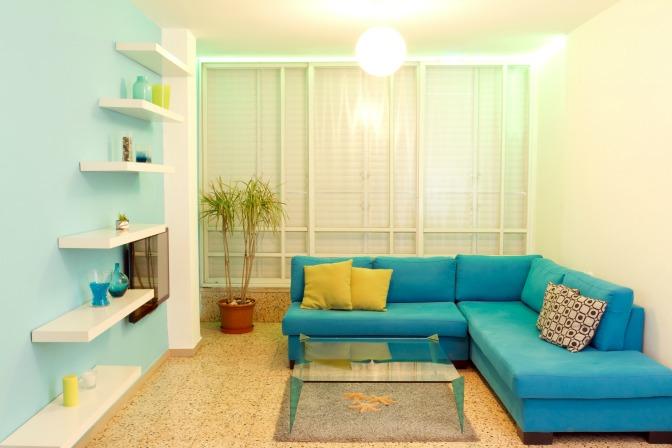 Blue Color Scheme In Feng Shui Living Room