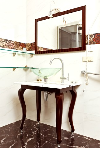 Sleek bathroom countertop and table with modern sink