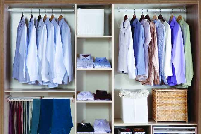 Organizing a storage closet for home stagers