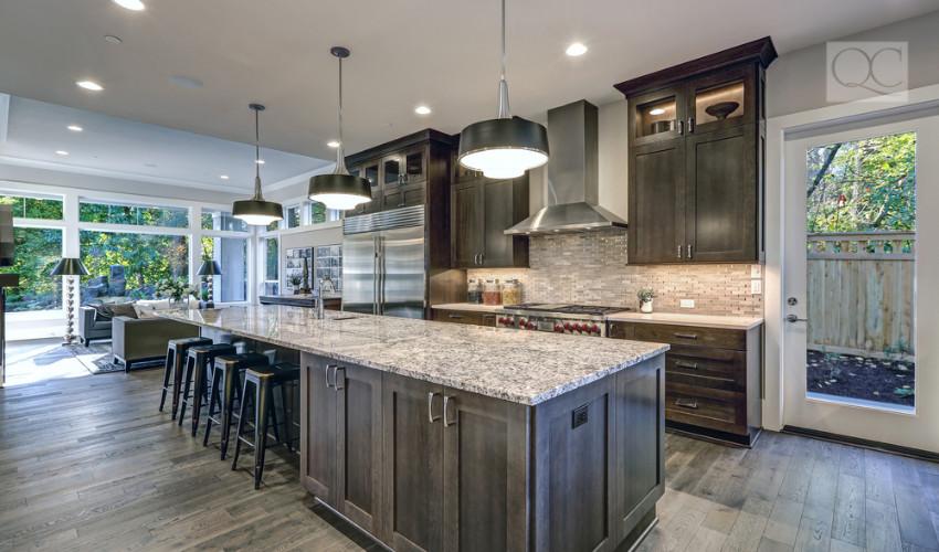 modern designed kitchen with energy efficient lighting by interior designer