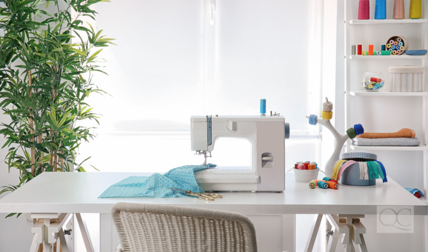 sewing room in a home organized by a professional organizer