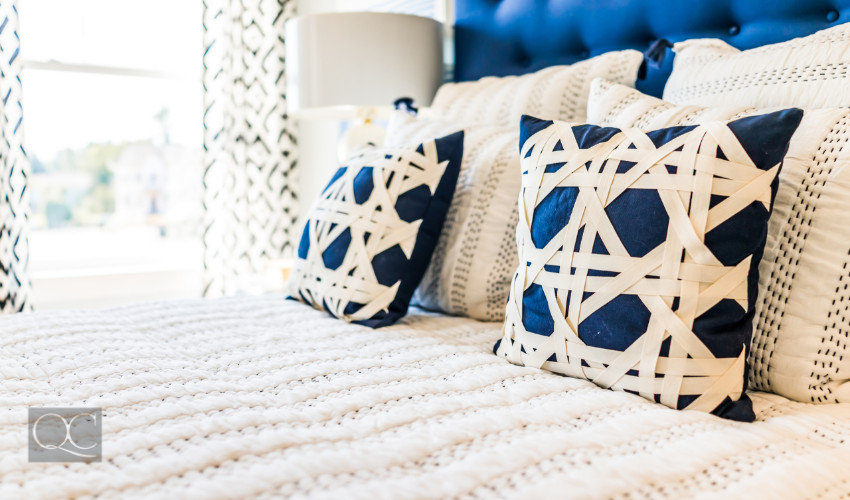 royal blue decorated pillows for a bedroom