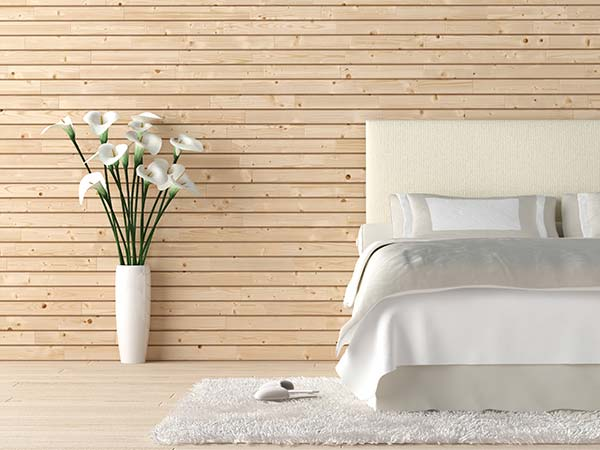 Minimal bedroom design with white and beige palette
