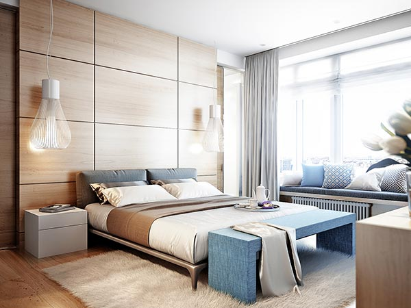 Modern private space bedroom design in bright room