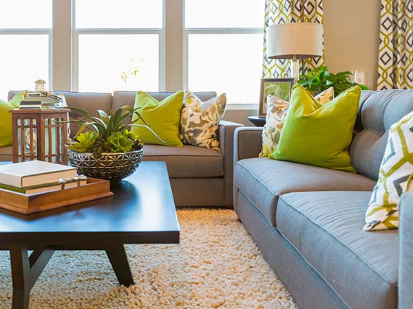 Living space decorated with pattern and color accents