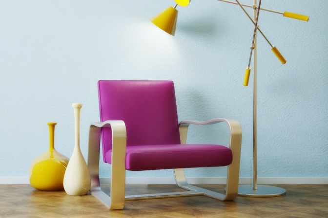 Bright furniture for interior decor