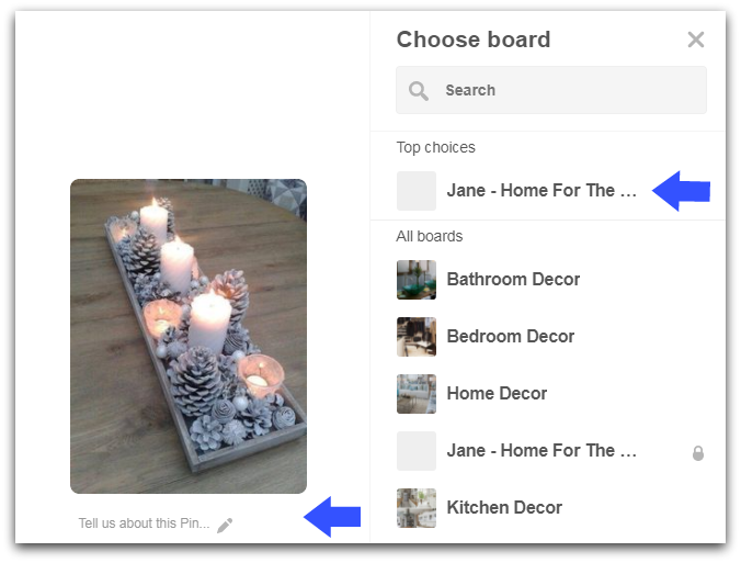 Pinterest board directions