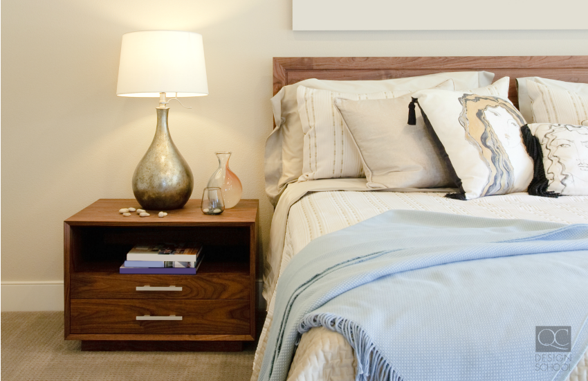 Staged bedroom for open house
