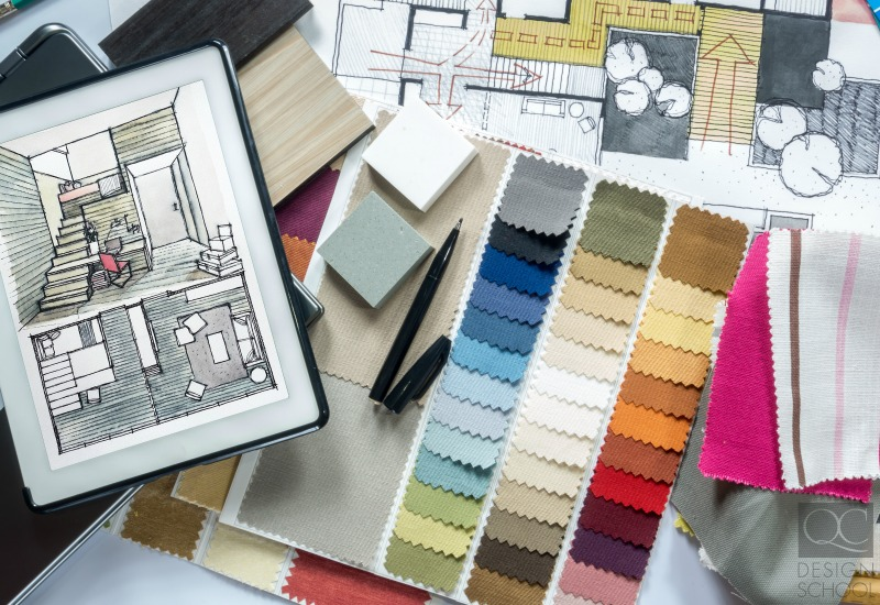 home design fabric swatches and floor plans