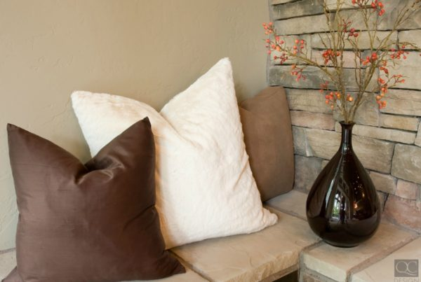 modern home design pillows and vase