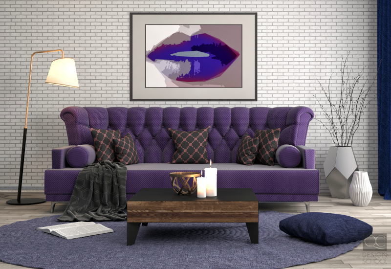 Ultraviolet colored sofa.