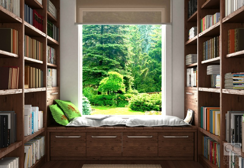 home library with window