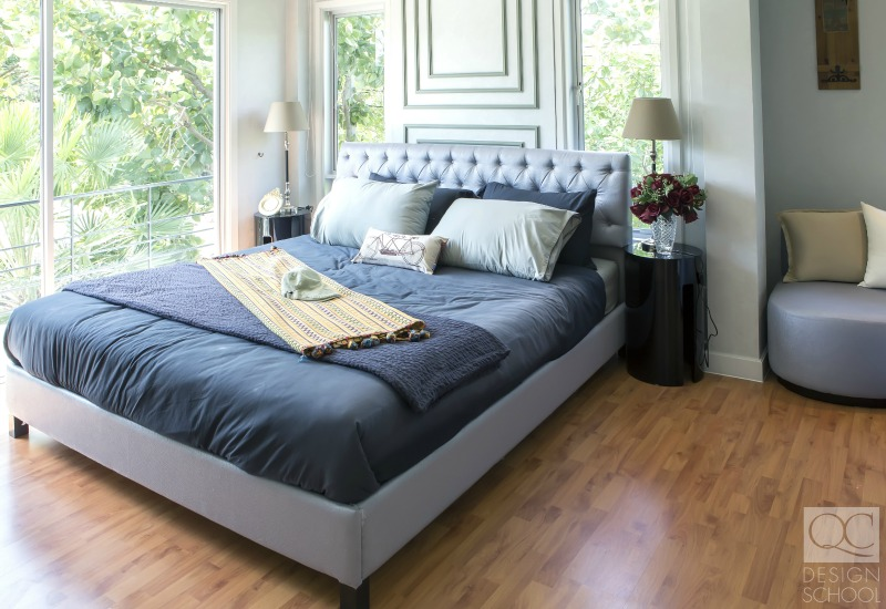 blue master bedroom luxury staging