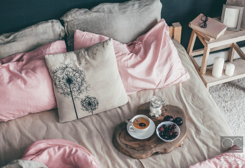 grey and pink bed