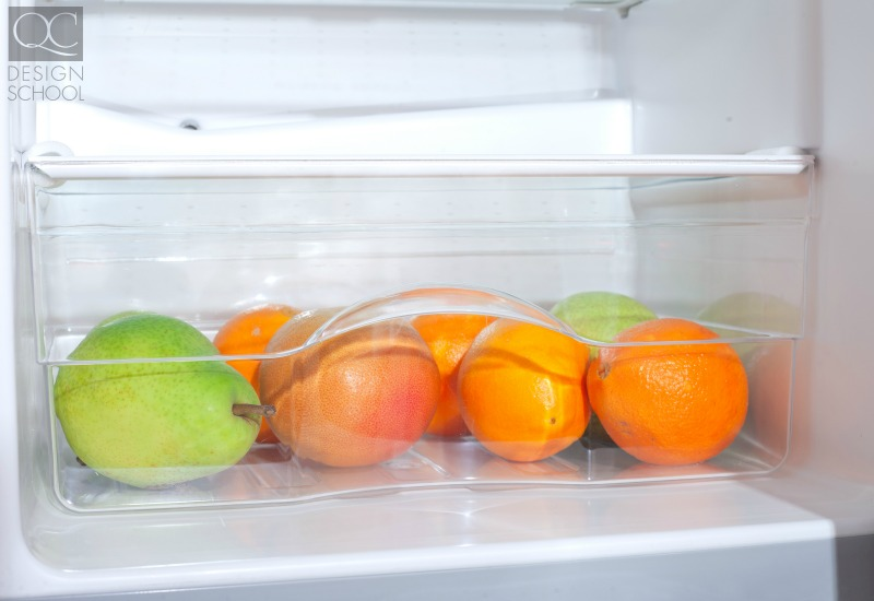becoming a professional organizer fruit in the cleaned and sorted fridge