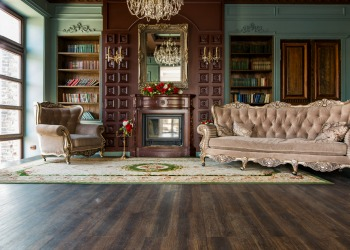 maximal design living room with chandelier and ornate decor