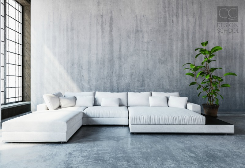 slate grey room with white couch and plant minimalist design
