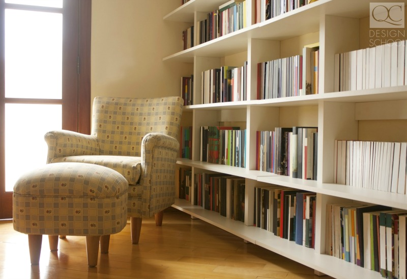 home library organized by a professional organizer