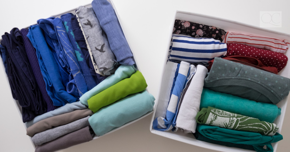 professionally organized clothing dividers for folded laundry