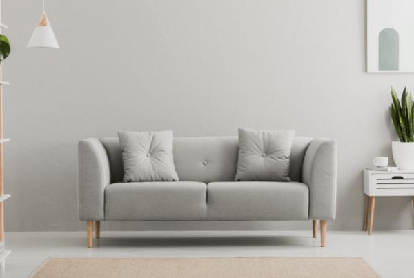 living room setup with greige walls