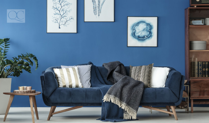 interior decor with blue color scheme for home staging certification training