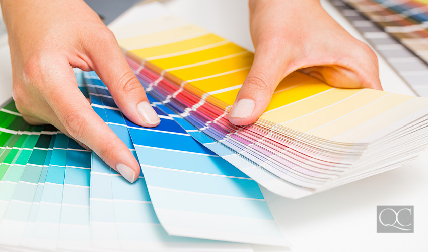 Color swatches in hands of professional color consultant