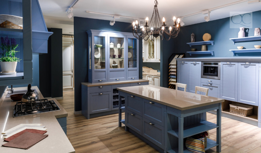 blue cabinetry and kitchen - blue is trendy for 2019 interior decorating and interior design