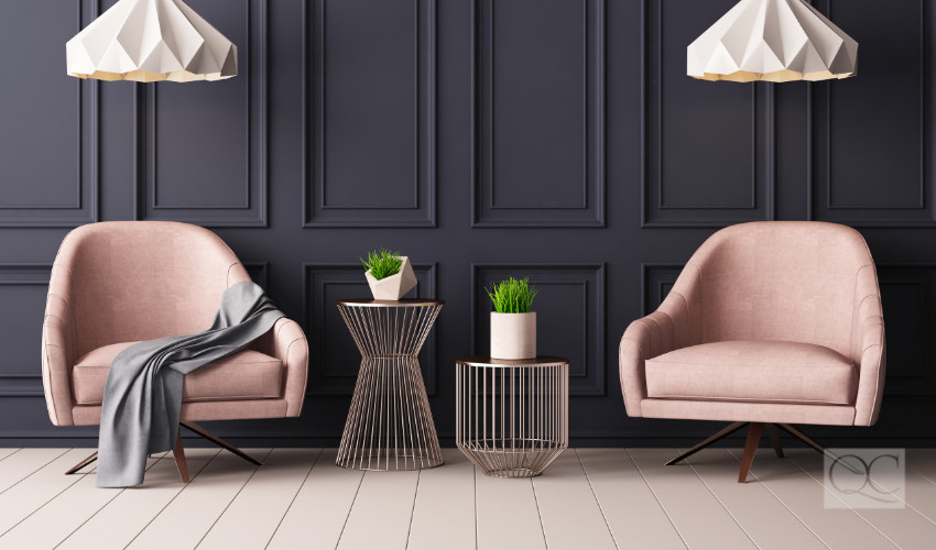 rich gray with soft pink is 2019 color pairing trend