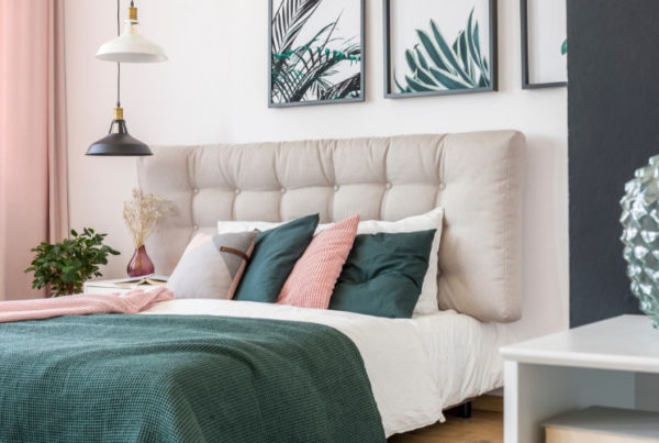 2019 color consultant predictions visualized in a bedroom interior decorating
